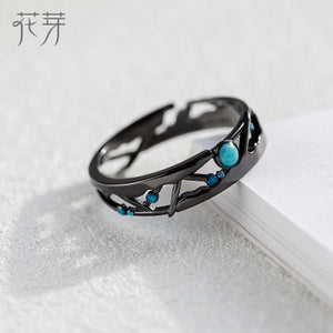Thaya CZ Milky Way Black Rings Blue Bright Cubic Zirconia Rings 925 Silver Jewelry for Women Lover Vintage Bohemian Retro Gift - Aptil Jewelery