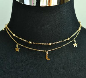 New fashion jewelry 2 layer star moon choker necklace nice gift for women girl (order 3 pieces have 15% off) N2076 - Aptil Jewelery