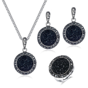Vintage Black Gem Necklace Earring Ring Jewelry Set Fashion Women Antique Silver Color Crystal Round Stone Pendant Necklace Gift - Aptil Jewelery