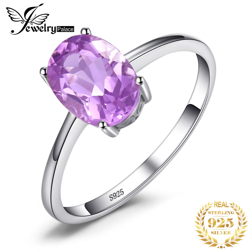 JewelryPalace Genuine Amethyst Ring Solitaire 925 Sterling Silver Rings for Women Engagement Ring Silver 925 Gemstones Jewelry - Aptil Jewelery