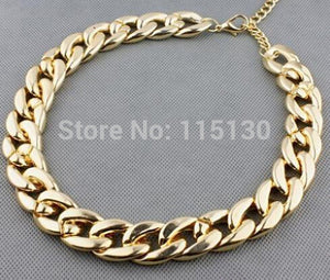 Vintage Gold Color Chunky Chain Necklace For Women Long Chian CCB Plastic Female Collar Necklace 2017 New Fashion Jewelry - Aptil Jewelery
