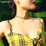 Ingemark Korean Sweet Love Heart Choker Necklace Statement Girlfriend Gift Cute Silver Color Necklace Jewelry Collier Femme 2020 - Aptil Jewelery