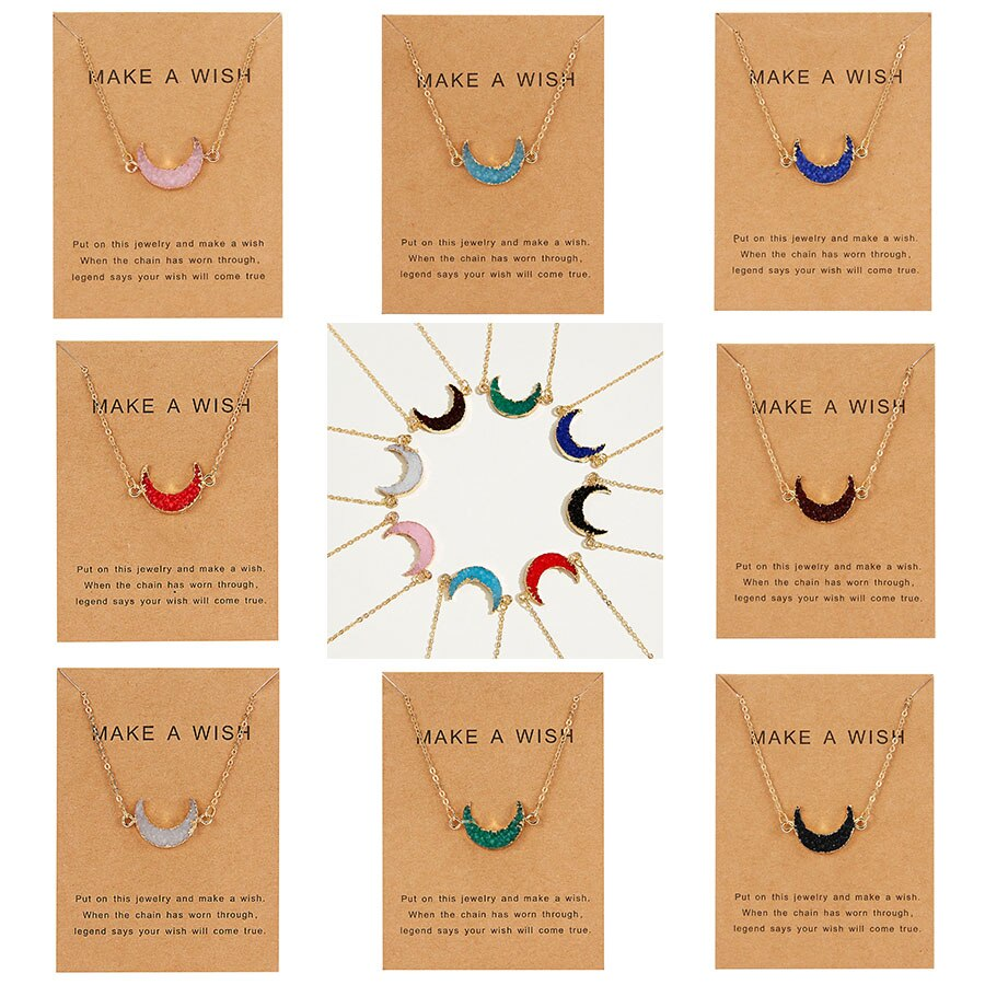 Rinhoo 8 Colors Moon Shape Druzy Necklace Fashion Resin Faux Stone Necklace Gold Color Paper Wish Card  Jewelry for Women Girls - Aptil Jewelery