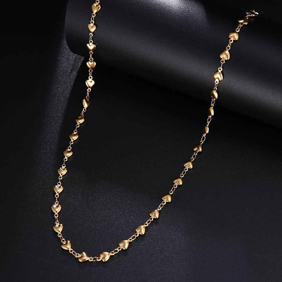CACANA Stainless Steel Chain Necklaces For Man Women Gold Silver Color For Pendant Heart-shaped Love Donot Fade Jewelry A1345 - Aptil Jewelery