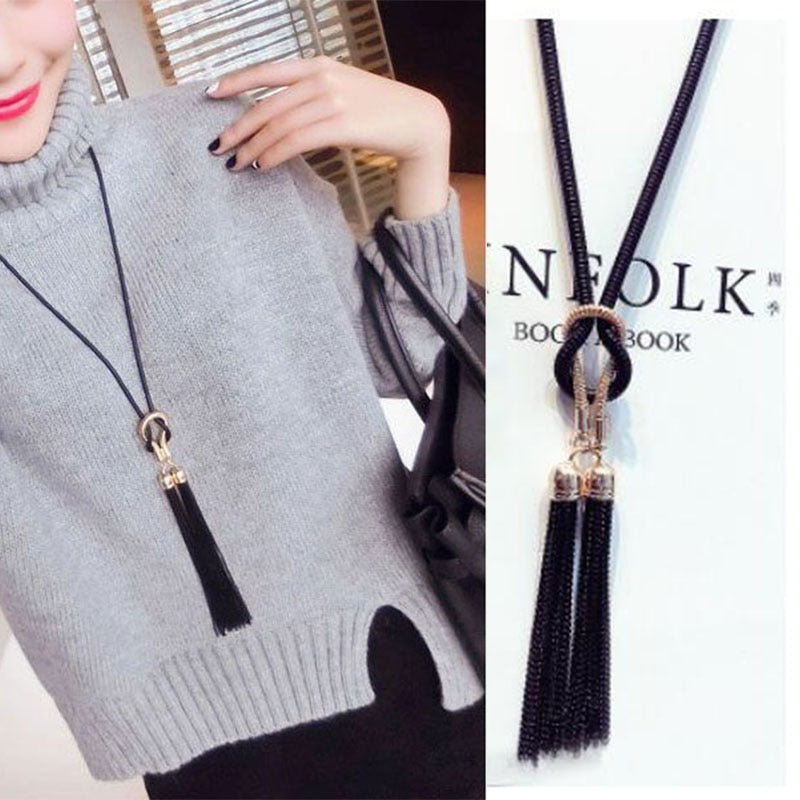 Fashion Jewelry Female Pendant Necklace Tassel Long Winter Sweater Chain For Women  Clothing Jewelry Accessories Wholesale Price - Aptil Jewelery