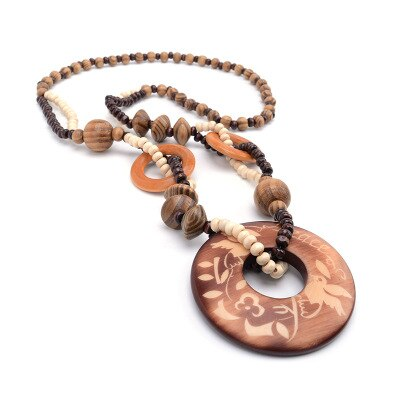 Single Layer Bohemia Ethnic Necklace & Pendant Beads Jewelry Vintage Statement Long Necklace Women Handmade Wood Jewelry - Aptil Jewelery