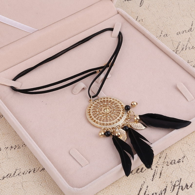 ZOSHI Elegant Feather Long Beaded Black Chain Tassel Necklaces For Women Office Accessory Bohemia Costumes Jewelry Bijoux - Aptil Jewelery