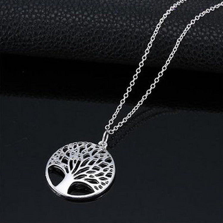 New Design Tree of Life Pendant Necklace Silver Color Female Charm Necklace Jewelry - Aptil Jewelery