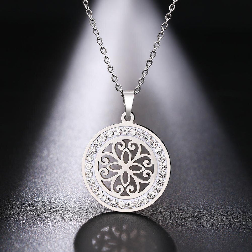 Cacana Stainless Steel Crystal Round Pendants Necklace - Aptil Jewelery