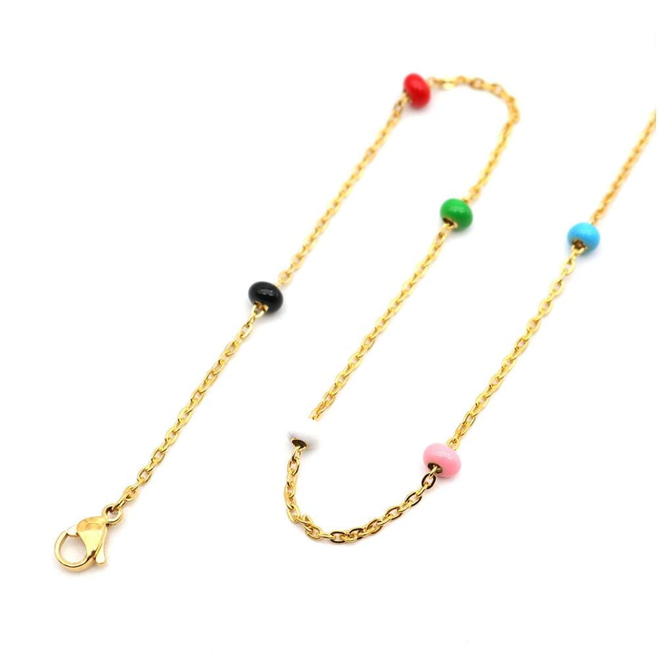 Fashion Stainless Steel Link Chain Necklace Acrylic Bead Gold Multicolor Necklaces Women Men Jewelry Gifts 50cm Long, 1 PC - Aptil Jewelery
