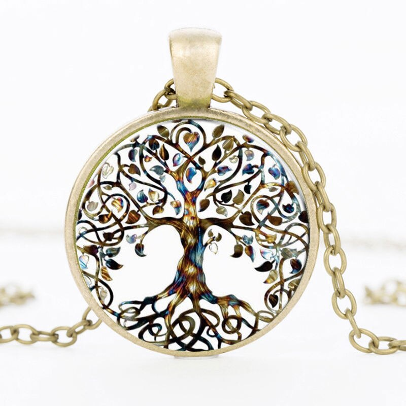 SUTEYI Newest Tree Of Life Statement Necklace Art Photo Glass Cabochon Pendant Charm Women Choker DIY Necklace For Gifts Jewelry - Aptil Jewelery