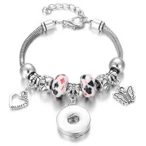 New Christmas Snap Jewelry Bracelets Butterfly Charms Beaded Snap Bracelet Fit 20mm 18mm Snap Buttons DIY Beads Bracelet - Aptil Jewelery