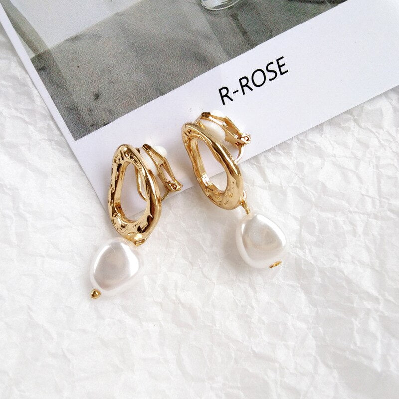 Korea Simple Personality Irregular Geometric Clip Earrings Fashion Temperament Imitation Pearl Jewelry Girl Women's Accessories - Aptil Jewelery