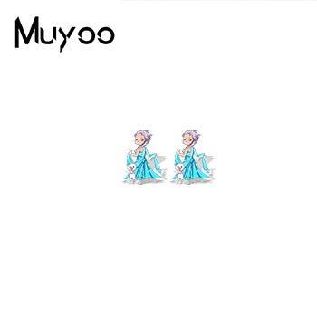 Cute Princess Sweet Story Anime Print Characters Epoxy Acrylic Earrings Fairy Story Jewelry Resin Earrings Gifts - Aptil Jewelery