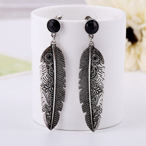 Vintage Black Earrings Long Silver Drop Chandelier Ethnic Feather Earrings Accessories Women Gypsy Boho Tibetan Jewelry - Aptil Jewelery