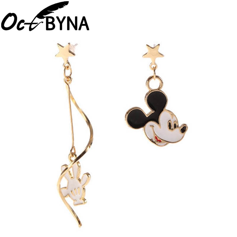 Octbyna Cartoon Anime Style Mickey Minnie Gold Color Brand Earring For Women&Girls Stud Earrings Jewelry Dropshipping - Aptil Jewelery