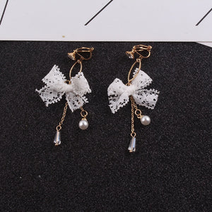 JIOFREENew Personality Fashion Sweet Cute Lace Bow-knot Tassel Pearl Clip Earrings Jewelry Earring For Women Female Accessories - Aptil Jewelery