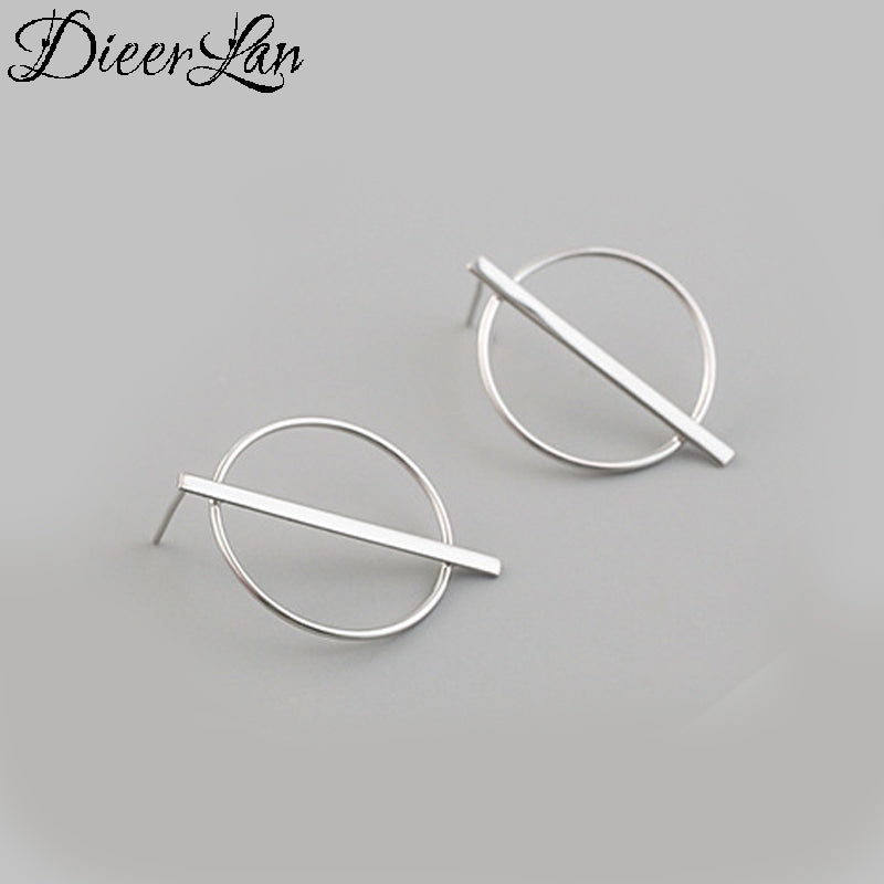 DIEERLAN Real 925 Sterling Silver Large Circle Earrings For Women Ladies Statement Jewelry Korean Earrings Pendientes Brincos - Aptil-jewelery - jewelry website