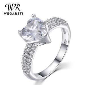 WEGARASTI Silver 925 Jewelry Ring Aquamarine Trendy Heart Zircon Classic 925 Sterling Silver Rings Jewelry Woman Engagement Gift - Aptil Jewelery