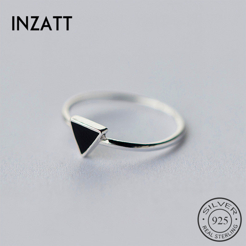 INZATT Real 925 Sterling Silver Geometric Black Enamel Triangle OL Adjustable Ring Minimalist Fine Jewelry For Women Party Gift - Aptil Jewelery