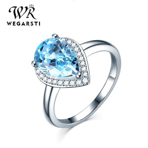 WEGARASTI Silver 925 Jewelry Ring Woman Aquamarine Water Drop Trendy Classic 925 Sterling Silver Ring Jewelry Wedding Engagement - Aptil Jewelery