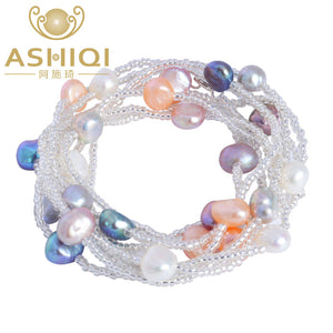 ASHIQI Natural Freshwater Baroque Pearl Bracelet For Women Colorful Jewelry Wedding Crystal Beads - Aptil Jewelery