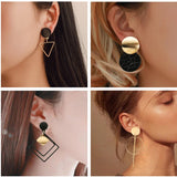 Korean Statement Black Acrylic Drop Earrings for Women 2019 Fashion Jewelry Vintage Geometric Gold Asymmetric Earring - Aptil Jewelery
