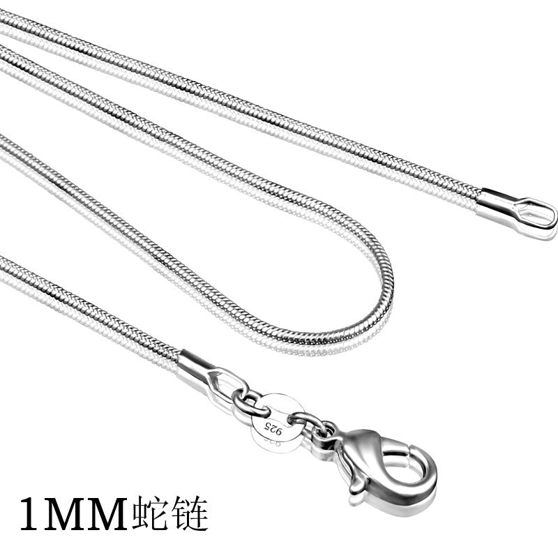 925 sterling silver necklace women, silver fashion jewelry Snake Chain 1mm Necklace 16 18 20 22 24