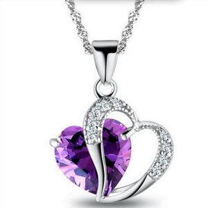 2019 Sell like hot cakes 6 colors Top Class lady fashion heart pendant necklace crystal jewelry new girls - Aptil Jewelery