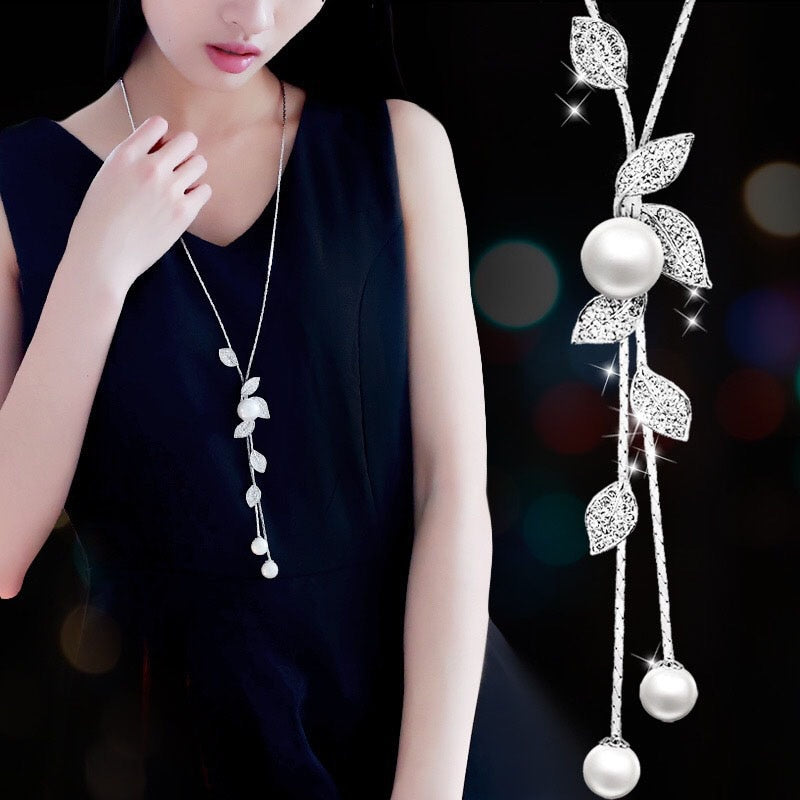 Fashion elegant Simulated Pearl Choker Necklaces for Women Silver Color Chain Long Necklace Pendant Jewelry Accessories Trendy - Aptil Jewelery