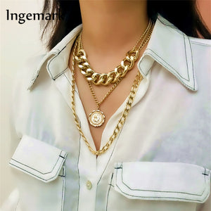 Ingemark Punk Miami Cuban Choker Necklace Exaggerated Thick Chain European&America Fashion Queen Pendant Necklace Women Jewelry - Aptil Jewelery