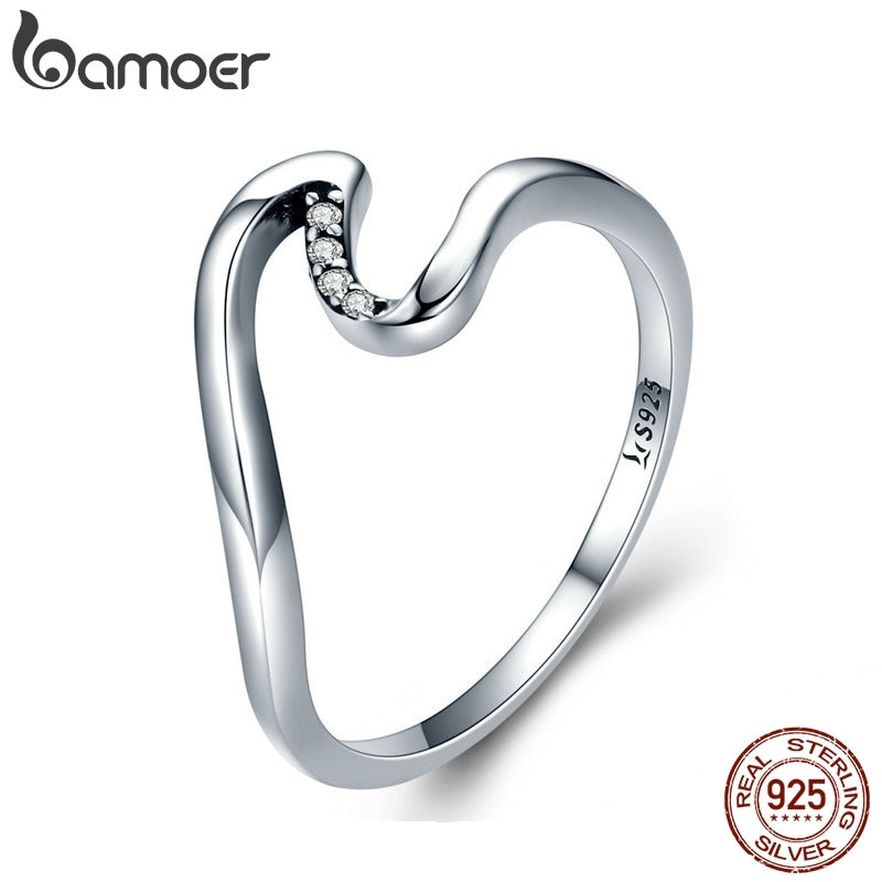 BAMOER Authentic 100% 925 Sterling Silver Geometric Wave Finger Rings for Women Wedding Engagement Jewelry Gift S925 SCR378 - Aptil Jewelery