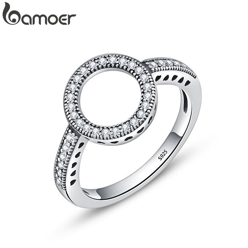 BAMOER 100% Genuine 925 Sterling Silver Forever Clear Black CZ Circle Round Finger Rings for Women Jewelry Christmas Gift SCR041 - Aptil Jewelery