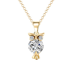 2019 New Zircon Pendants Owl Necklace For Women Crystal Heart Gold Sliver Color Long Necklaces Fashion Jewelry Christmas Gift - Aptil Jewelery