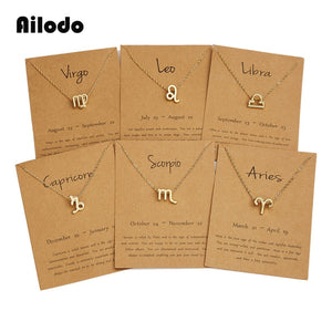 Ailodo Men Women 12 Horoscope Zodiac Sign Gold Pendant Necklace Aries Leo 12 Constellations Jewelry Kids Christmas Gifts 19NOV91 - Aptil Jewelery