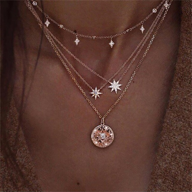 New multi-layer crystal Moon necklaces and pendants for women Vintage charm gold choker necklace 2019, wholesale jewelry - Aptil Jewelery