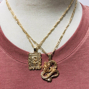 ALYXUY New Fashion Dragon Pendant Necklaces for Women Gold Color Rose Choker Necklace Mascot Ornaments Jewelry Lucky Symbol Gift - Aptil Jewelery