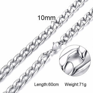 5-10MM Men's Round Miami Cuban Link Chain Necklace in Gold Tone Stainless Steel Hiphop Boy Male Jewelry with 24 Inch - Aptil Jewelery