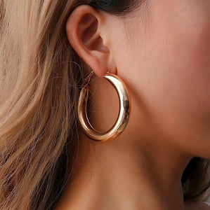 Fashion Za Gold Metal Drop Earrings for Women Steam Punk Big Round Design Statement Earrings Brincos Geometric Jewelry - Aptil Jewelery
