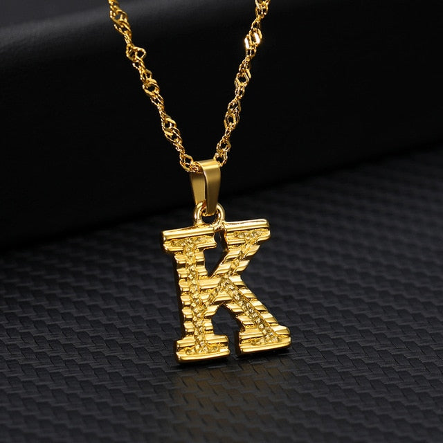 Tiny Gold Initial Letter Necklace For Women Stainless Steel A-Z Alphabet Pendant Necklace Jewelry Christmas Gifts Bijoux Femme - Aptil Jewelery