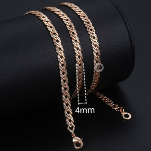 Personalize Necklace For Women Men 585 Rose Gold Venitian Curb Snail Foxtail Link Chains Necklace Fashion Jewelry 50cm 60cm CNN1 - Aptil Jewelery