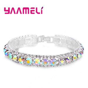 Top Sale 925 Sterling Silver Bracelets Full AAA Zircon Austrian Crystal Femme Women Link Chain Jewelry Bangles 14 Colors - Aptil Jewelery
