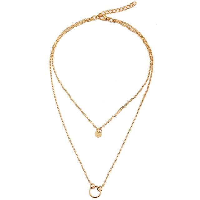 IF ME Vintage Boho Gold Metal Coin Layered Necklace For Women Lady Fashion Chain Long Choker Collar Pendant Necklaces Jewelry - Aptil Jewelery