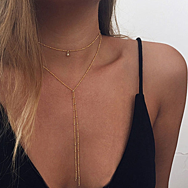 NEW Lariat Beads Chains Necklaces Long multilayer Water Drop Simple party kolye Statement choker Jewelry for Women collier femme - Aptil Jewelery