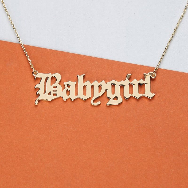 High Quality 2019 New Fashion Jewelry Gold Babygirl Letter Necklace Name Pendants Lovely Gift for the Mom - Aptil Jewelery