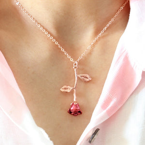 2019 Statement Alloy Rose Pendant Necklace 4 Color Women Jewelry Accessories Gold Chain Necklace for Women Memorial Day Gift - Aptil Jewelery