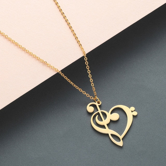 Todorova Music Note Heart of Treble and Bass Clef Necklace Women Infinity Love Charm Pendant Necklace Stainless Steel Jewelry - Aptil Jewelery
