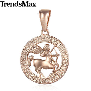Trendsmax 12 Zodiac Sign Constellations Pendants Necklaces For Women Men 585 Rose Gold Male Jewelry Fashion Birthday Gifts GPM16 - Aptil Jewelery