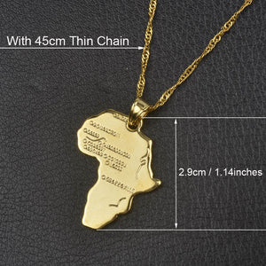 Anniyo Africa Map Pendant Necklace for Women Men Gold Color Ethiopian Jewelry Wholesale African Maps Hiphop Item #132106 - Aptil Jewelery