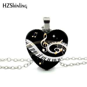 New Grand Piano Heart Necklace Music Piano Heart Pendant Black and White Piano Keys Jewelry Women Heart Shaped Necklace HZ3 - Aptil Jewelery